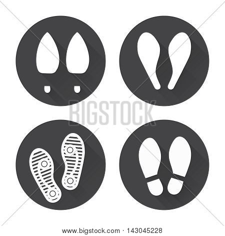 Flat footprint icons set with shadows vector