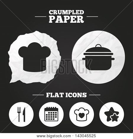 Crumpled paper speech bubble. Chief hat and cooking pan icons. Fork and knife signs. Boil or stew food symbols. Paper button. Vector