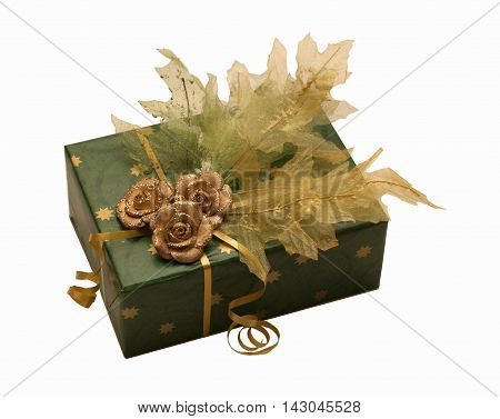 Very luxury packed present with leaves and flowers