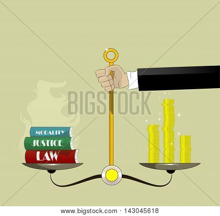 Hand holding justice scales with money and law books. Corruption concept vector cartoon illustration