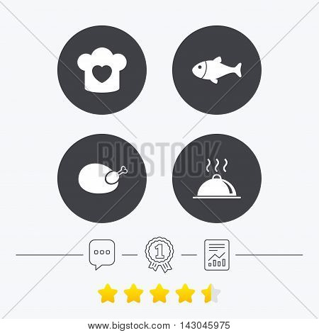 Chief hat with heart and cooking pan icons. Fish and chicken signs. Hot food platter serving symbol. Chat, award medal and report linear icons. Star vote ranking. Vector