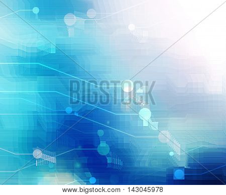 computer motherboard on a blue background, abstract