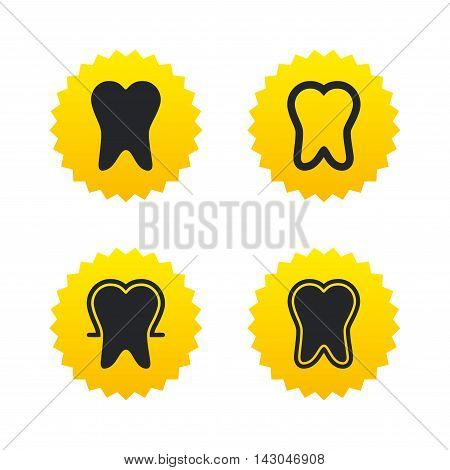 Tooth enamel protection icons. Dental care signs. Healthy teeth symbols. Yellow stars labels with flat icons. Vector