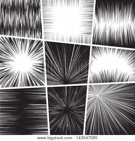 Comic book set frame black and white radial lines background Manga graphic speed frame Superhero action Explosion vector illustration Square fight stamp Sun ray Star burst Ink texture