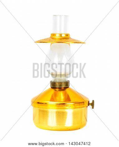 Old Metal Kerosene Lamp Isolate on White Background