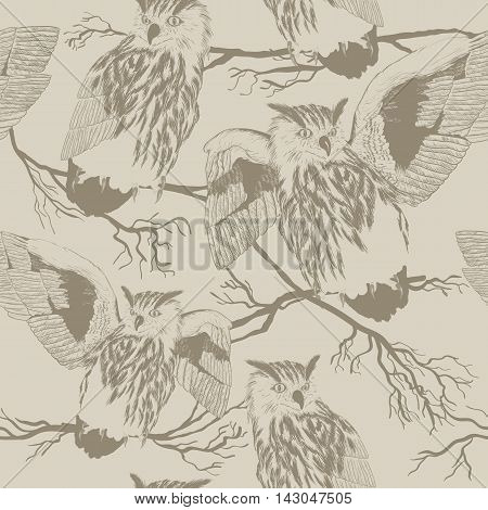 seamless vector pattern with owl Silhouettes of owls and trees