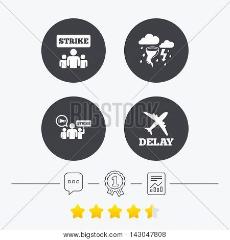Strike icon. Storm bad weather and group of people signs. Delayed flight symbol. Chat, award medal and report linear icons. Star vote ranking. Vector
