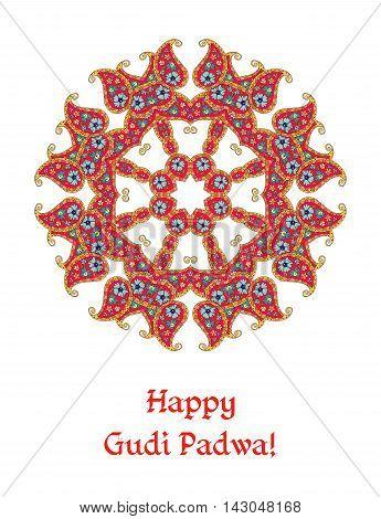 Happy Gudi Padwa - beautiful card. Indian lunar new year's Day. Vector illustration.