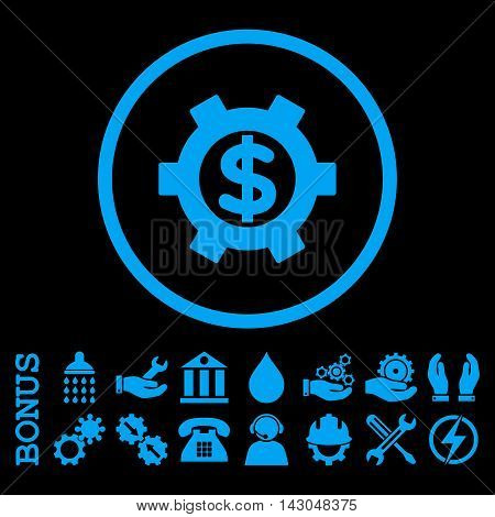 Financial Settings glyph icon. Image style is a flat pictogram symbol inside a circle, blue color, black background. Bonus images are included.