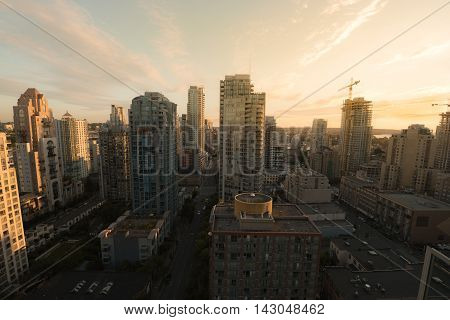 Golden sunset over the Vancouver skyline, BC