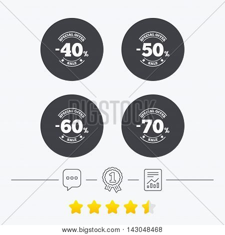 Sale discount icons. Special offer stamp price signs. 40, 50, 60 and 70 percent off reduction symbols. Chat, award medal and report linear icons. Star vote ranking. Vector