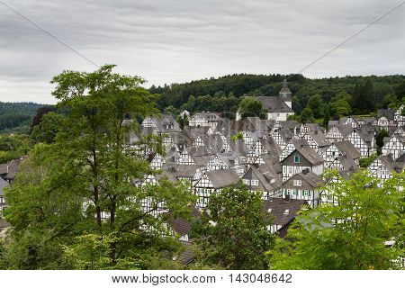 Cityscape of Freudenberg with half-timbered houses Germany