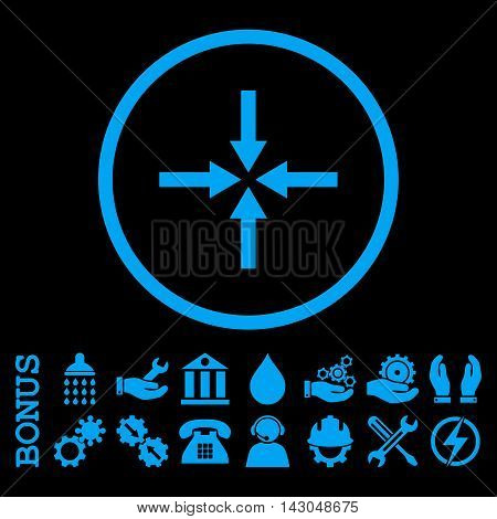 Impact Arrows glyph icon. Image style is a flat pictogram symbol inside a circle, blue color, black background. Bonus images are included.
