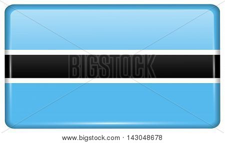 Flags Botswana In The Form Of A Magnet On Refrigerator With Reflections Light. Vector
