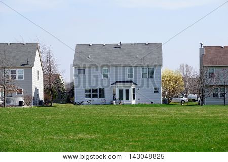 The back of a tract home in the Wesmere Country Club subdivision of Joliet, Illinois.