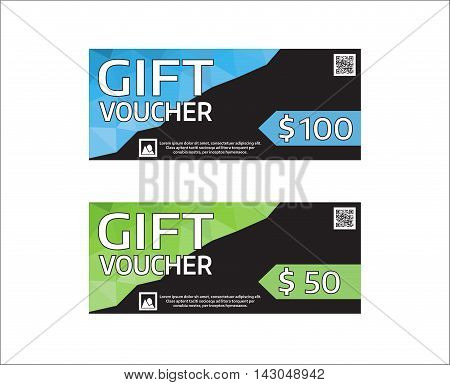 Gift voucher modern design template. Vector graphic coupon with money value. Sample text and place for qr code. Blue and green color.