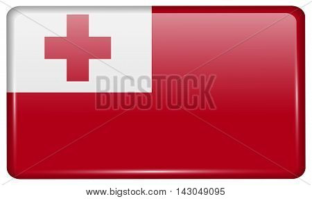 Flags Tonga In The Form Of A Magnet On Refrigerator With Reflections Light. Vector