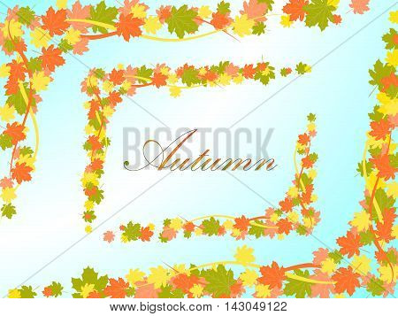 Autumn Light Blue Background With A Frame In The Form Of Colored Maple Leaves And Lines