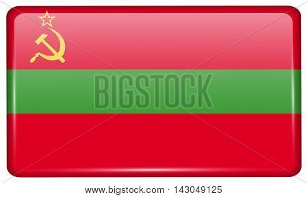 Flags Transnistria In The Form Of A Magnet On Refrigerator With Reflections Light. Vector