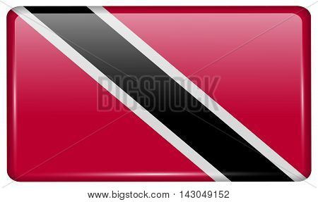 Flags Trinidad And Toba In The Form Of A Magnet On Refrigerator With Reflections Light. Vector
