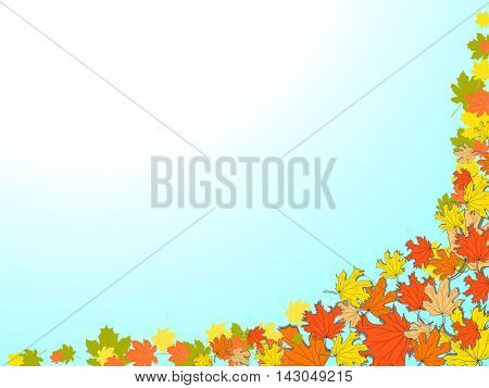Autumn Blue Background With Colorful Maple Leaves In The Lower Right Corner