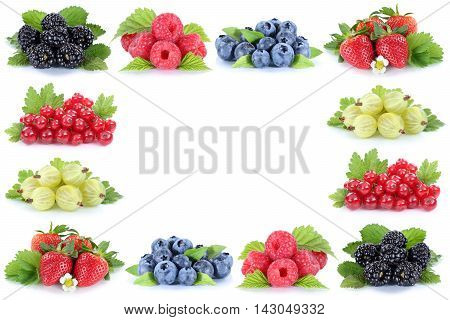 Berries Strawberries Blueberries Red Currant Berry Fruits Copyspace Copy Space
