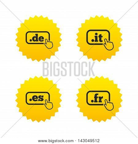 Top-level internet domain icons. De, It, Es and Fr symbols with hand pointer. Unique national DNS names. Yellow stars labels with flat icons. Vector
