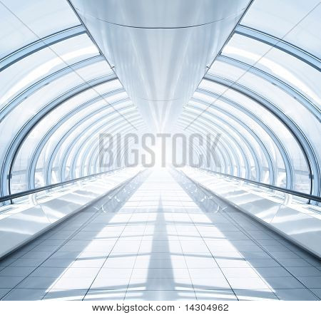 Sysymmetric Modern Hall Inside Airport With Light In The End Of Tube