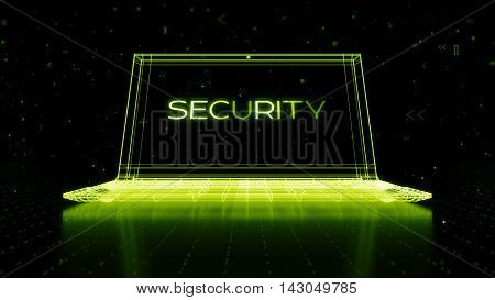 Digital 3D Rendering With Wireframe Of Notebook Standing On Reflective Floor With A Security Word On