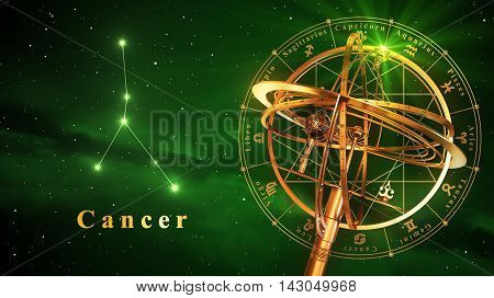 Armillary Sphere And Constellation Cancer Over Green Background. 3D Illustration.