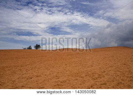 Red sand dune with trees over the hill and massive clouds in the sky. Mui Ne South Vietnam
