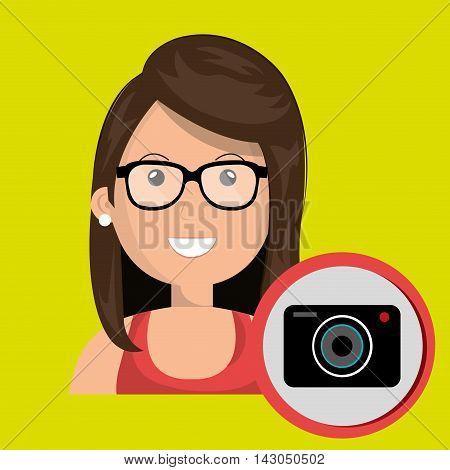 woman camera photography icon vector illustration gra