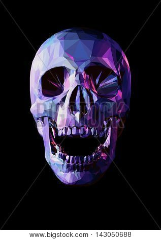 Laugh purple skull in low poly graphic style on dark background