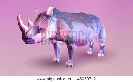 Purple rhinoceros in low poly graphic style on pink background