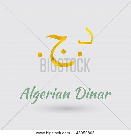 Symbol of the Algeria Currency with Golden Texture.Vector EPS 10