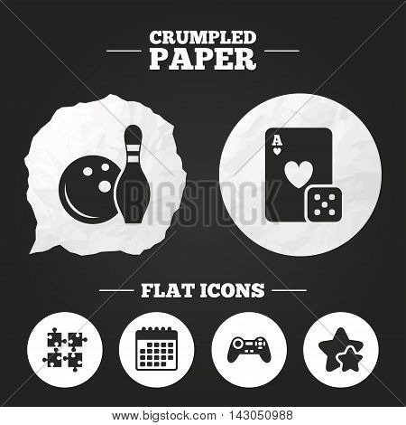 Crumpled paper speech bubble. Bowling and Casino icons. Video game joystick and playing card with puzzles pieces symbols. Entertainment signs. Paper button. Vector