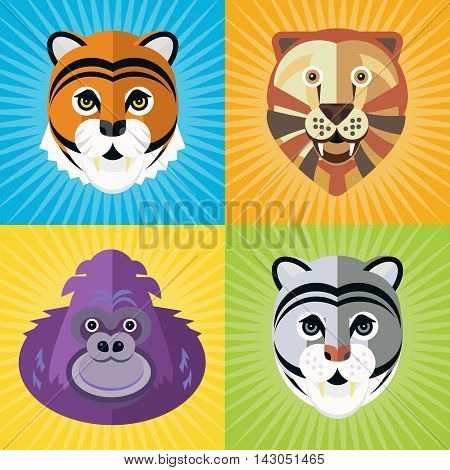 Portrait of a different wild animals gorilla lion tiger and puma made in trendy flat style vector. African animal. Safari label or t-shirt design with gorgeous and cute animal character.