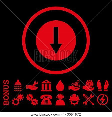 Down Rounded Arrow glyph icon. Image style is a flat pictogram symbol inside a circle, red color, black background. Bonus images are included.