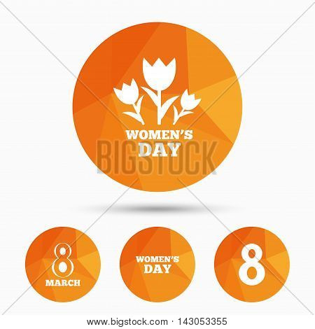 8 March Women's Day icons. Tulips or rose flowers bouquet sign symbols. Triangular low poly buttons with shadow. Vector