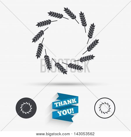 Agricultural sign icon. Wreath of Wheat corn. Gluten free or No gluten symbol. Flat icons. Buttons with icons. Thank you ribbon. Vector