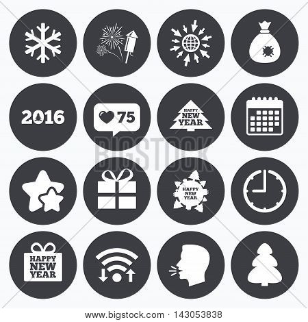 Calendar, wifi and clock symbols. Like counter, stars symbols. Christmas, new year icons. Gift box, fireworks and snowflake signs. Santa bag, salut and rocket symbols. Talking head, go to web symbols. Vector