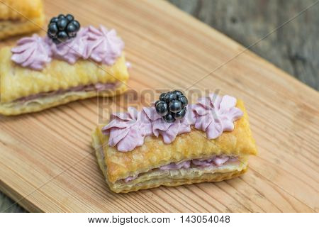 Detailed View On Puff Pastry Tasty With Blackberry-mascarpone