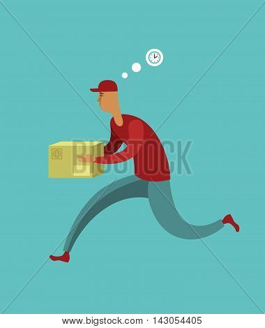 Flat design colorful vector illustration concept for courier delivery service
