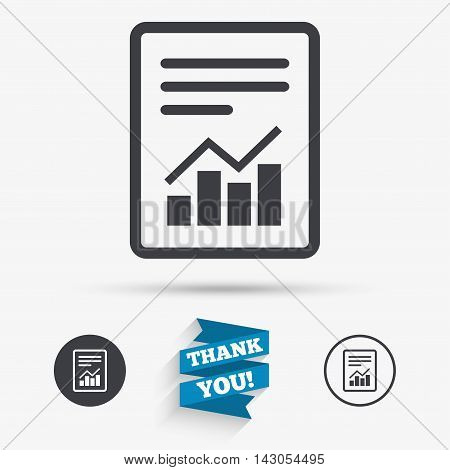 Text file sign icon. Add File document with chart symbol. Accounting symbol. Flat icons. Buttons with icons. Thank you ribbon. Vector