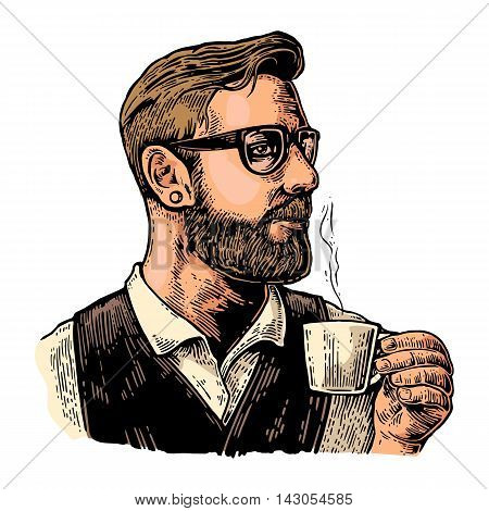 Hipster barista with the beard holding a cup of hot coffee. Hand drawn style. Vintage vector color engraving illustration for label web poster. Isolated on white background.