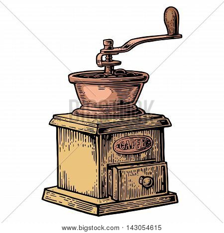 Coffee mill. Hand drawn sketch style. Vintage color vector engraving illustration for label web. Isolated on white background.