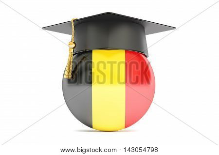 education in Belgium concept 3D rendering on white