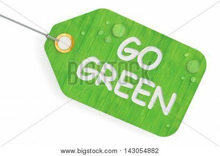 go green concept green tag. 3D rendering isolated on white background