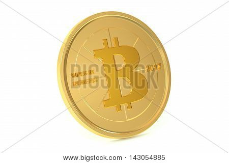 Golden Bitcoin 3D rendering isolated on white background