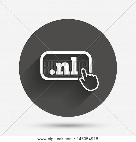 Domain NL sign icon. Top-level internet domain symbol with hand pointer. Circle flat button with shadow. Vector